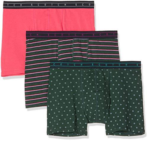Scotch & Soda Herren Classic Boxer Short in solid, Stripe and All-Over Print Boxershorts, Mehrfarbig (Combo B 0218), Medium (Herstellergröße: M) (3er Pack)