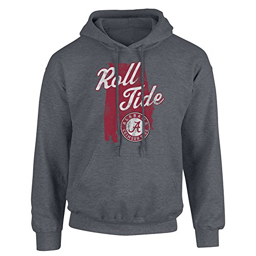 Elite Fan Shop Alabama Crimson Tide Hoodie Sweatshirt Charcoal - Large