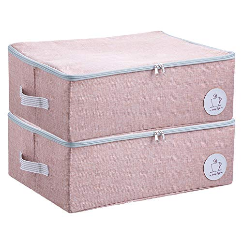 Staubdichtes Wandschrank Kleidung Aufbewahrungsboxen mit Reißverschluss, Breathable Fabric & Collapsible Design für Saisonkleidung Organisation, 2 Stück (Rosa)