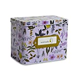 Avercado 4 x 6 Inches Metal Recipe Box with Cards and Dividers - Decorative Floral Recipe Tin Box with 28 Dividers and 100 Double-Sided Blank Recipe Cards (Purple)