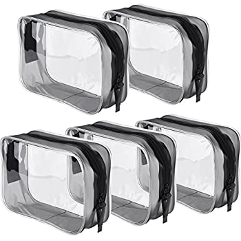 Pangda 5 Pack Clear PVC Zippered Toiletry Carry Pouch Portable Cosmetic Makeup Bag for Vacation Bathroom and Organizing  Small Transparent