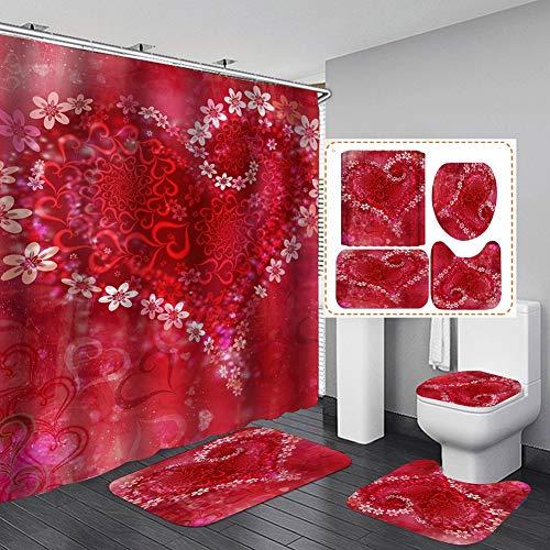 YeongShe Duschvorhang-Set, 3D-Druck, Badezimmer-Vorleger + WC-Deckelbezug + Badematte & Duschvorhang für Haus/Hotel Dekoration