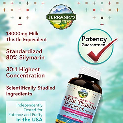 Terranics Organic Milk Thistle Extract, 600mg, 180 Veggie Capsules, Concentrated Whole Spectrum Extract, Standardized 80% Silymarin, Support Healthy Liver Function, Non-GMO, Soy, Dairy & Gluten Free