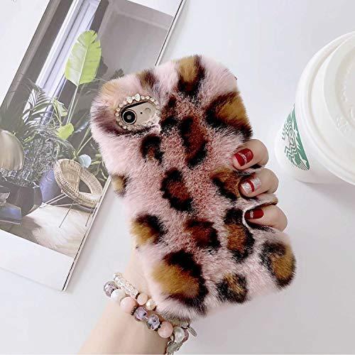Miagon Pelz Hülle für iPhone 11,Glitzer Leopardenmuster Weich Warm Kunstpelz Plüsch Fluffy Flexibel Schutz Handytasche Case Cover,Rosa Braun