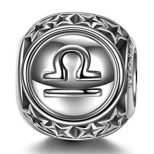 NINAQUEEN Charm für Pandora Charms Waage Konstellationen Sternzeichen Geschenke für Frauen 925 Sterling Silber Anhänger für Pandora, Chamilia & European Charm, mit Schmuckschatulle (9.23-10.23)