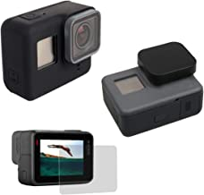 Silicone Protective Housing Case Cover with Silicone Lens Cover LCD Screen Protector Film for GoPro Hero (2018), GoPro Hero 7 Black, Hero 6, Hero 6 Black, Hero 5, Hero 5 Black (Black)