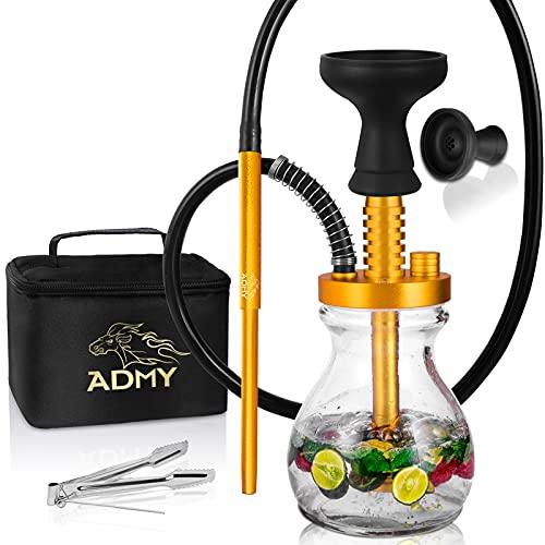 ADMY Mini Shisha Set, klein Hookah Komplett Alu, Shisha Reise Paket To Go| Wasserpfeife Silikonschlauch mit Mundstück |Glas Bowl |Silikonkopf |Zange |Tauchrohr Diffusor | Travel Bag Gold