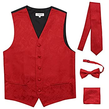 JAIFEI Premium Men's 4-Piece Paisley Vest for Sleek Looks On Formal Occasions  XL  Chest 45  Red