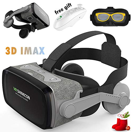VR Headset Glasses, 3D Virtual Reality Goggles w/Headphone & Remote for 3D Movie Game, Compatible for iPhone XR XS X 8 7 6S Plus Samsung Galaxy S9 S8 S7 S6 Edge Note 5 LG G6 G5 G4, VR Glasses Gray