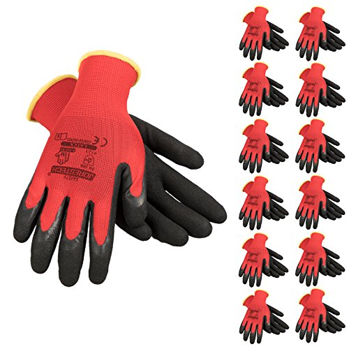 JORESTECH Palm Dipped Latex Coated Seamless Knit Work Gloves PPE (Extra Large) Pack of 12,Red, Black