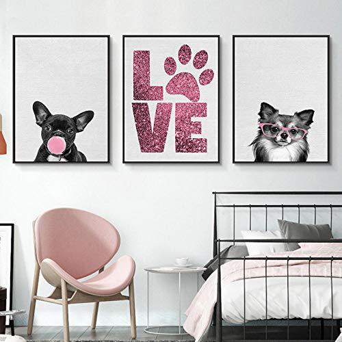 SNGTOW Lindo Perro Mascota Huella de Amor impresión de bebé Animal Lienzo Pintura Rosa Rosa Cartel guardería Cuadro de Arte de Pared decoración de habitación de niños | 40x60cmx3 sin Marco