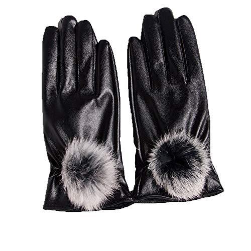 Lederen handschoenen Dames Herfst En Winter Leuke Konijn Haar Touch Screen Warm En Fluweel Rijden Koud Rijden