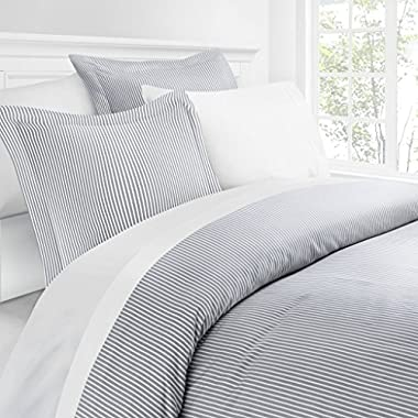 Italian Luxury Pinstripe Pattern Duvet Cover Set - 3-Piece Ultra Soft Double Brushed Microfiber Printed Cover with Shams - Full/Queen - Light Gray/White