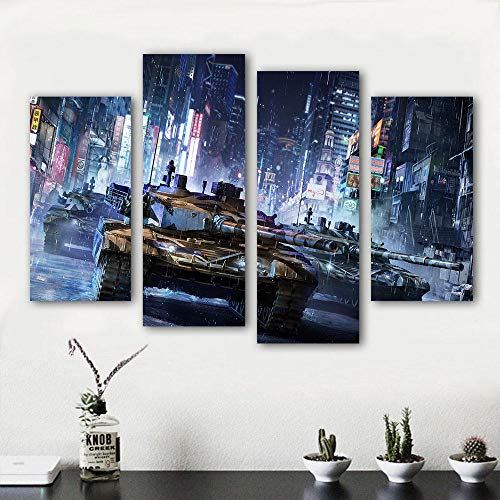 YTPC 4 STÜCKE Panels Malerei Armored Warfare Tank Leinwand Kunst Wandbild für Wohnzimmer Home Decor-40x80x2 40x100cmx2 stücke kein Rahmen