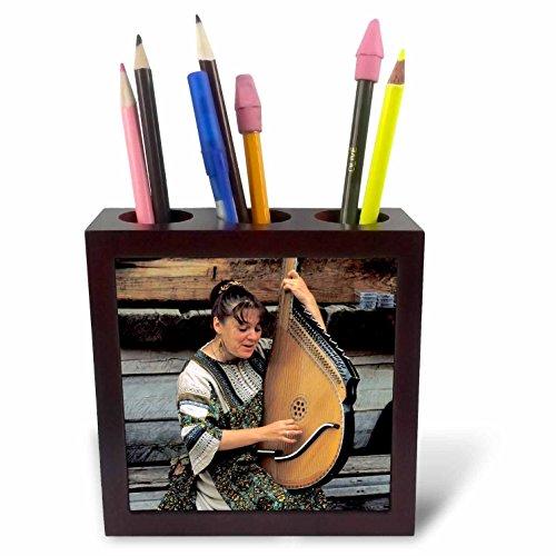 3dRose PH 73881_ 1Sibirien, listvyanka, Bandura (Instrument) Instrument, Folk music-as25bba0149-bill Bachmann-Tile Stifthalter, 12,7cm