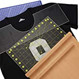 18 Pulgadas Herramienta de Alineación de Camisetas Regla Guía de Vinilo con Regla de Acolchado Acrílico y Hoja Transferencia Resistente al Calor, Diseños Sublimación Carta de Tamaño