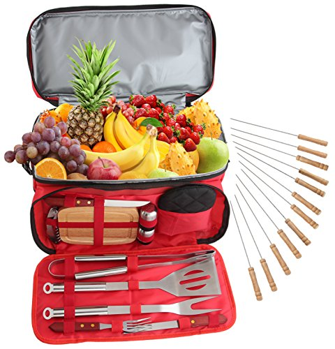 ROMANTICIST Heavy Duty BBQ Grill Accessories Set with 15 Can Cooler Bag - 24Pc Stainless Steel Barbecue Tool Set in Water Proof Insulated Bag for Outdoor Picnic Camping Tailgating - Ideal Gift Kit