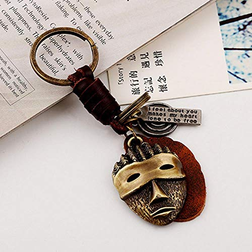 ATP Handmade Leather Keychain hat Robot Animal Knitted Keychain Antique Bronze Key Ring,24