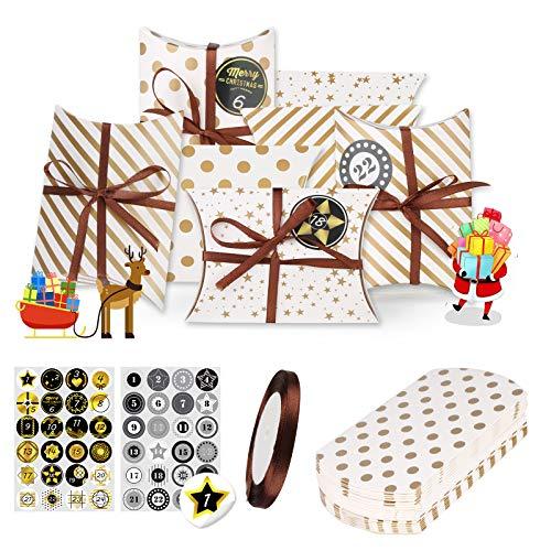 HOSPAOP Weihnachtskalender Adventskalender Boxen zum Befüllen 24 STK Adventskalender Schachteln Golden 15 * 11 * 4,5cm, 2 * 24 Zahl-Aufkleber und 24 Klammer Mitgeliefert Weihnachten Geschenkbox DIY