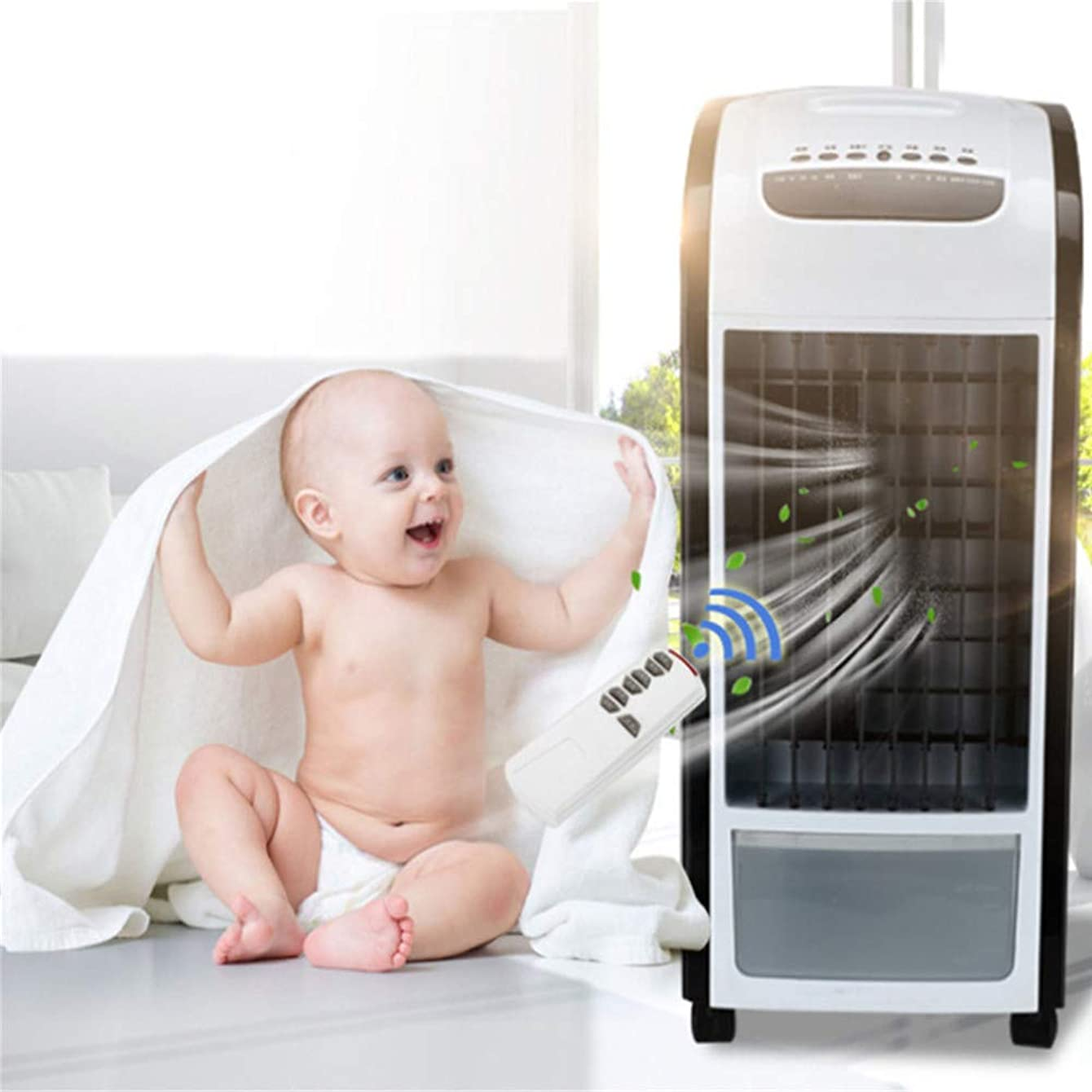 iLUGU Big Space Air Conditioner Fan Air Freshener Mechanical Air Cooler Air Purifier Air Humidifier Air Circulator Evaporative Cooler for Home Bedroom Office