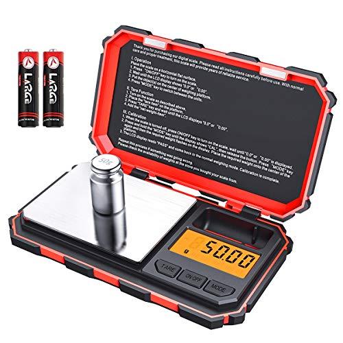 Brifit Digitale Mini-Waage, 200 g/0,01 g, 50 g Kalibriergewicht, elektronische Smart-Waage, 6 Einheiten, LCD-Display, Tare, Auto-Off, Edelstahl (Batterie im Lieferumfang enthalten)