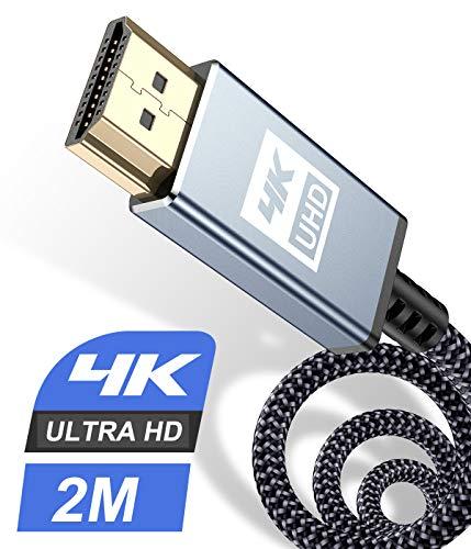 HDMI Kabel 2Meter 4K,Sweguard Highspeed 60hz 18Gbps HDMI 2.0 auf HDMI mit hernet/Audio Rückkanal,Kompatibel Mit UHD 2160p, 3D, HD 1080p, HDR, HDCP 2.2 ARC, Ethernet, PS4, Xbox, HDTV,Monitor (2M, GRAU)