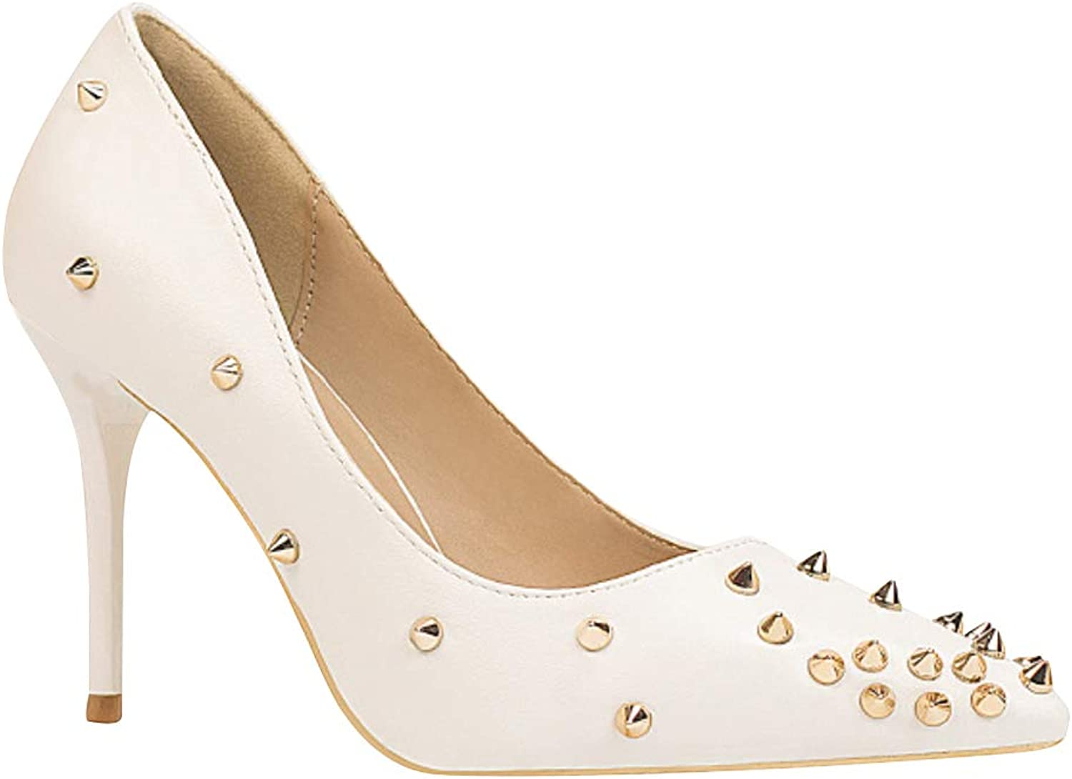 Uirend Women Pumps shoes - Fashion Stiletto Pointed 10cm Slim High Heels Closed Toe Slip On Rivet Studded Dress Wedding Party Court shoes