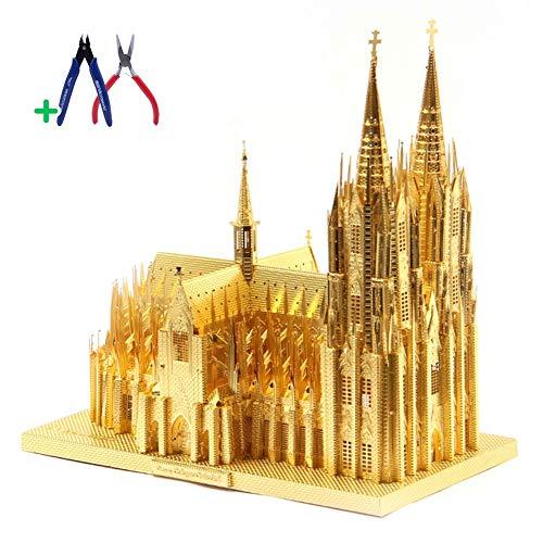 YUELAI 3D Metal Puzzle,Metallgebäudemodell des Weltberühmten Kölner Doms, DIY-Puzzlespielspielzeug