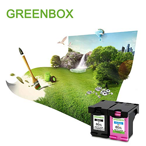 GREENBOX Remanufactured Ink Cartridge 60 Replacement for HP 60XL 60 XL CC641WN CC644WN for Hp Photosmart C4680 D110 Deskjet D2680 D1660 D2530 F2430 F4210 Printer (1 Black 1 Tri-Color)
