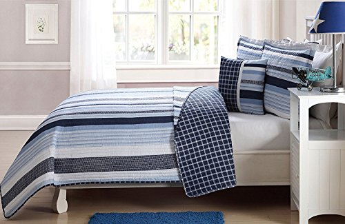Elegant Home Multicolor Navy Light Blue White Elegant Striped Stripes Design Printed Reversible Colorful 4 Piece Quilt Bedspread Bedding Set with Decorative Pillow for Kids/Boys (Full Size)