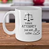 N\A Taza Divertida de Abogado Abogado instantáneo Solo agregue café Abogado de la Oficina de Abogados Regalo de colega Abogados Taza de Broma Regalos para Estudiantes de Derecho