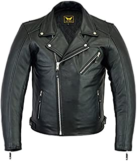 A&H Apparel Mens Leather Motorcycle Jacket Genuine Cowhide Zip Out Lining Jacket (XX-Large)