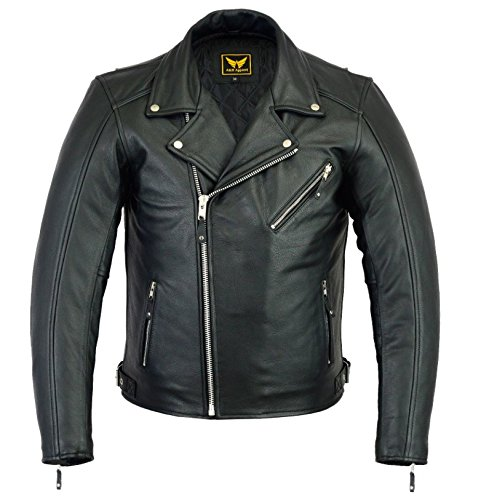 A&H Apparel Mens Leather Motorcycle Jacket Genuine Cowhide Zip Out Lining Jacket (Medium)