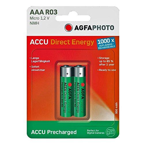 AgfaPhoto 132803944 AgfaPhoto 132-803944 Micro Batterien 2 Stück Ready-to-Use Accu 950mAh AAA grün-Silber