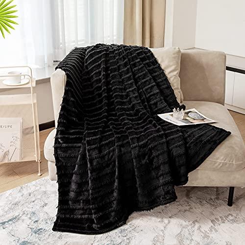 Lynnlov Flannel Fleece Throw Blanket, Luxury Microfiber Throw Size Lightweight Cozy Couch Bed Blanket Anti-Static Fuzzy Blanket Super Soft Warm Plush Blanket Black 320GSM (50 x 60 inches)