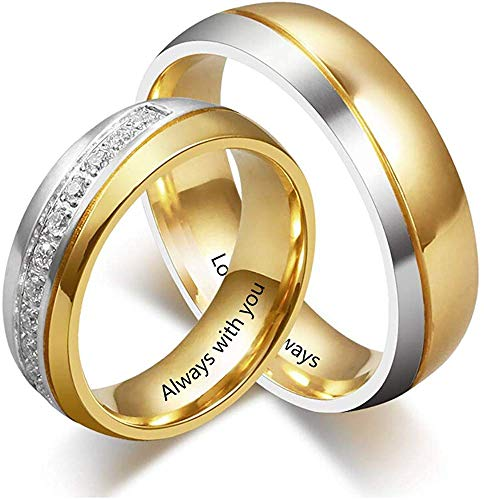 Personalized Couple Matching Rings for Him and Her Set Free Engraving...