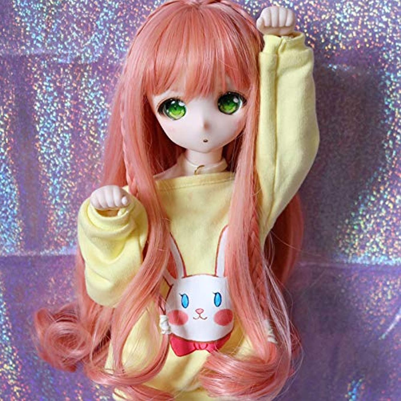 1/3 9-10 inch BJD Doll Wig High Temperature Long Loose Wavy Orange Pink Synthetic Fiber Hair Wig BJD Doll Wigs for 1/3 1/4 1/6 BJD SD Doll (T2335&T1344&T1641)