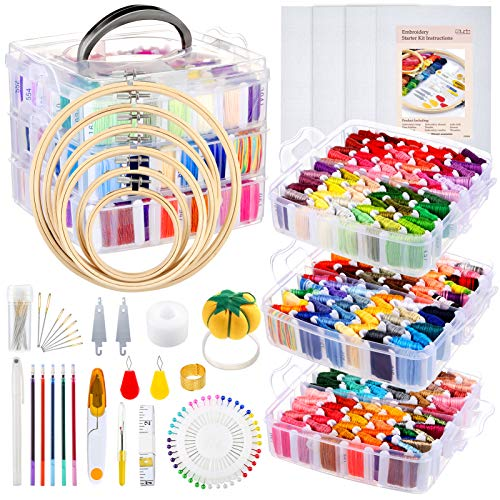 Caydo 313 PCS Box Embroidery Kit with Organizer, 216 Color Threads, 4 Aida Cloth, 6 Embroidery Hoops, Cross Stitch Tools and Instructions for Adults Beginners