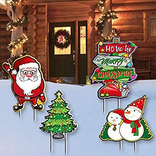 Anxicer Christmas Yard Sign Stakes Signes de Cour de Noël avec des Piquets,Bonhomme de Neige, Père Noël, Arbre de noël, Panneau,Plein air Décorations de Maison