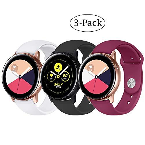 Pulseira extra para Samsung Galaxy Watch 42mm /Active and Gear S2 (Branca+Preta+Roxa)
