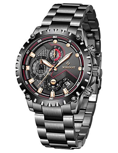 WISHDOIT Herren Uhren Militär Sport Wasserdicht Chronograph Silber Edelstahl Armbanduhr Männer Schwarz Herrenuhr Luxus Markenuhren Analog Quarzuhr