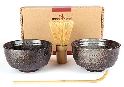 Goodwei japonés Juego de té Matcha Duo con Dos Cuencos de té Matcha, de cerámica