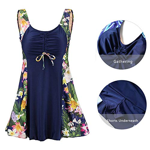 Ecupper Womens Plus Size Skirted Swimsuit Tummy Control Padded Swim Suit Dress with Boy Shorts Navy Flower 2XL