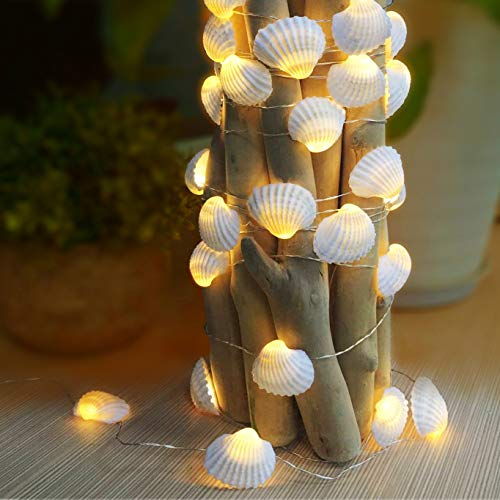 WSgift Natural Beach Seashell String Lights 13.85 Ft 40 Warm White LED Weatherproof Battery Operated 8 Modes Ocean Lights for Holiday Parties Bedrooms Weddings Gardens with Remote and Timer