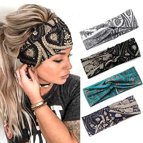 Zoestar Boho szerokie opaski na głowę czarne joga chusty na głowę vintage turban chusty na głowę stylowe elastyczne opaski do włosów grube bieganie trening szaliki do włosów akcesoria do włosów dla kobiet i dziewcząt (opakowanie 4)