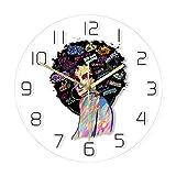 Reloj de Pared con Estampado de Pintura Facial de Mujer afroamericana, Arte Abstracto contemporáneo, decoración del hogar, Reloj de Pared silencioso sin Cuarzo, sin LED