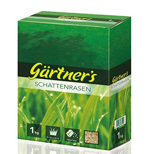 Gärtner's Schattenrasen 1 kg I RSM Rasensamen für halbschattige & schattige Standorte I Saatgutmischung zur Einsaat & Nachsaat I Saatgutmischung zur Begrünung I Für bis zu 40 m²