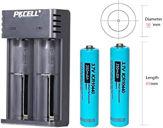 3.7V AAA Size ICR10440 Lithium Ion Rechargeable Battery (2pc Button top +Charger)