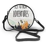 TURFED PU rotonda Borsa a tracolla avventura Say Yes per nuove avventure Testo Viaggi Preparati a tema Wanderlust Concetto Retro Cross Body Bag