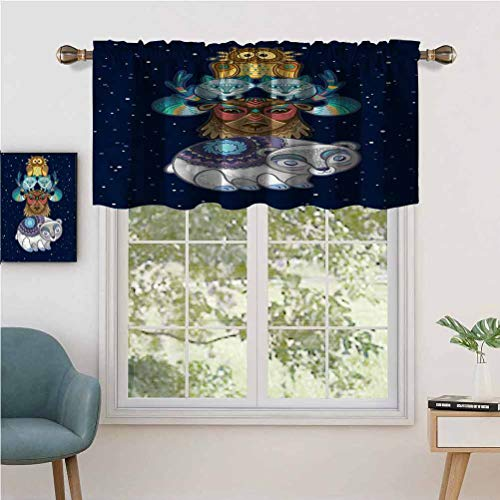 Hiiiman Indoor Home Curtain Valance Panel Starry Background Tribal, Set of 2, 54'x24' for Bathroom and Cafe